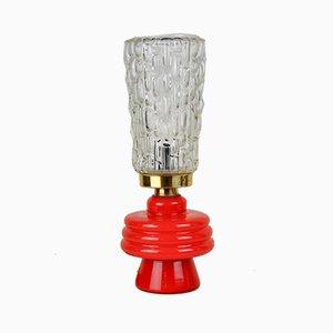 Lampe de Bureau avec Socle en Verre Rouge, 1960s