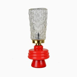 Tischlampe mit rotem Glasfuß, 1960er