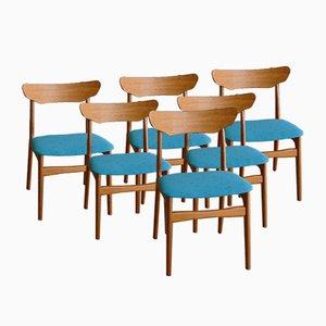 Dänische Stühle aus Teak in Petrol von Schiønning & Elgaard für Randers Møbelfabrik, 6er Set, 1960er