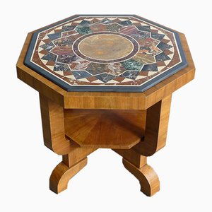 Art Deco Octagonal Coffee Table in Walnut & Marble Top with Geometric Inlays, 1920s