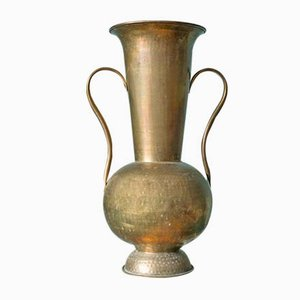 Large Vintage Hammered Brass Floor Vase, 1970s