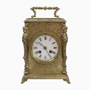 Antique French Decorative Brass Mantel Clock from Japy Freres, 1890s