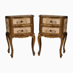 Lacquered and Gilded Wood Florentine Nightstands, 1960s, Set of 2