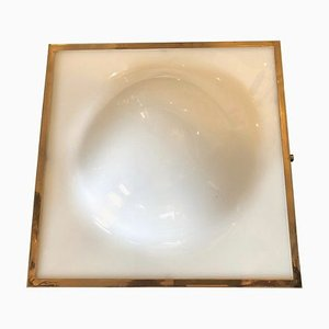Mid-Century Brass and White Glass Ceiling Lamp from Stilnovo, 1960s