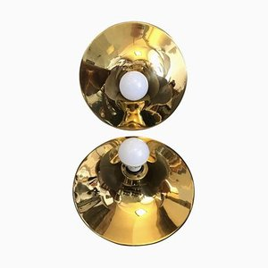 Mid-Century Italian Round Brass Sconces, 1970s, Set of 2
