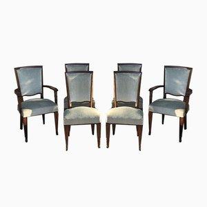 Mahagoni und Grüne Samt Esszimmerstühle im Stil von Jules Leleu, 1950er, 6er Set