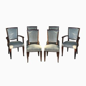 Mahogany and Green Velvet Dining Chairs in the Style of Jules Leleu, 1950s, Set of 6