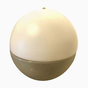 Lampe de Bureau Space Age en Verre de Murano Doré et Blanc de Mazzega, Italie, 1960s