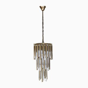 Vintage Gold Metal and Glass Cascading Chandelier in the Style of Paolo Venini, 1970s