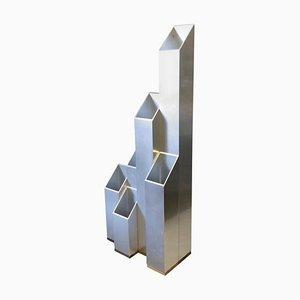 Vase Moderne en Aluminium et en Bois, Italie, 1970s