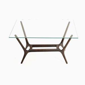 Modernistischer Italienischer Glas und Holz Couchtisch, 1950er