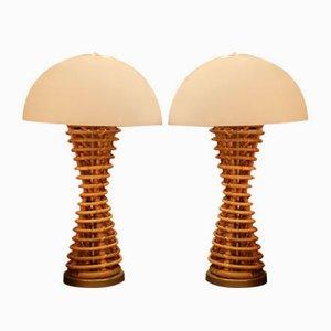 Vintage Tischlampen aus Plexiglas & Korbgeflecht von Adrien Audoux & Frida Minet, 2er Set