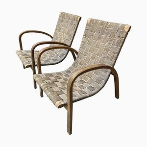 Mid-Century Italian Woven Fabric Lounge Chairs, 1940s, Set of 2