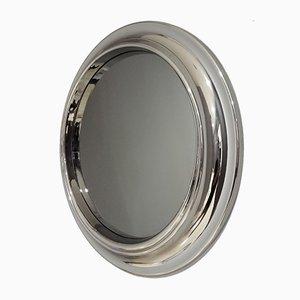 Vintage Italian Round Smoked Glass Mirror, 1970s