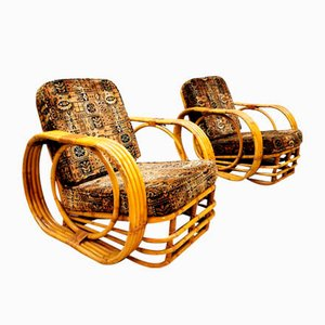 Vintage Rattan Bamboo Armchairs by Rohé Noordwolde, 1960s, Set of 2