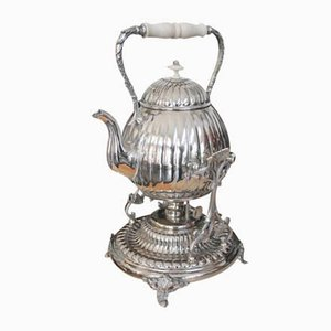 Vintage Silver Plated Teapot with Warmer, 1920s, Set of 2