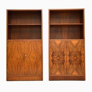 Art Deco Walnut Cabinets, 1920s, Set of 2