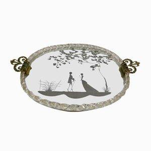 Antiker Spiegel aus Muranoglas & Messing, 1900er