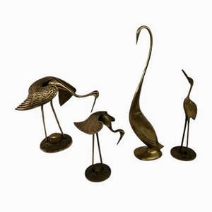 Vintage Brass Heron Sculptures, 1950s, Set of 4