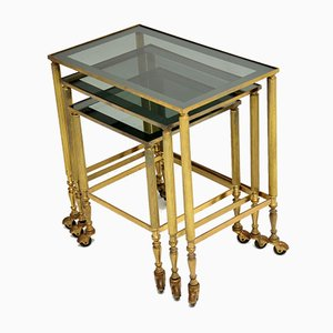 Vintage French Brass Nesting Tables, 1950s