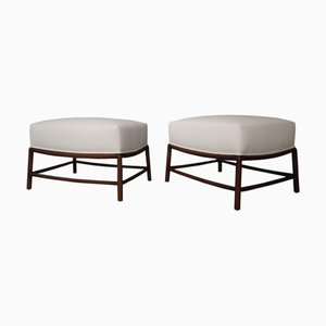 Mid-Century White Fabric and Wood Stools by T. H. Robsjohn-Gibbings, 1950s, Set of 2