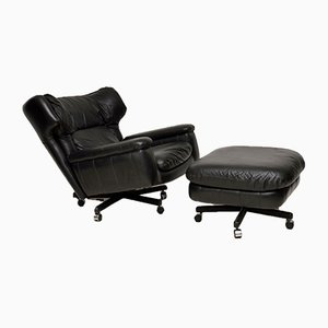 Vintage Leather Reclining Armchairs and Stool Set, 1960s