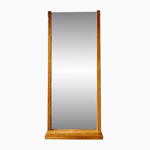 Vintage Rectangular Teak Wall Mirror with Shelf