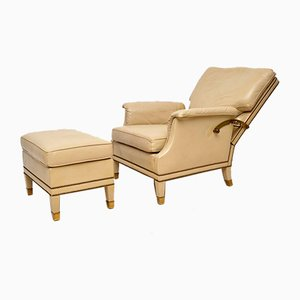 Vintage Swedish Leather and Brass Reclining Armchair and Stool Set, 1960s