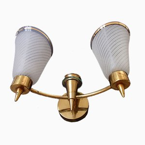 Mid-Century Brass Sconces, Set of 2