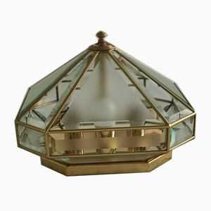 Mid-Century Italian Brass and Glass Ceiling Lamp, 1970s