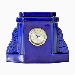 Art Deco Cobalt Blue Glazed Clock from Digoin Sarreguemines