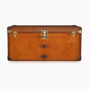 Antique French Orange Vuittonite Fabric Courier Trunk from Louis Vuitton, 1900s