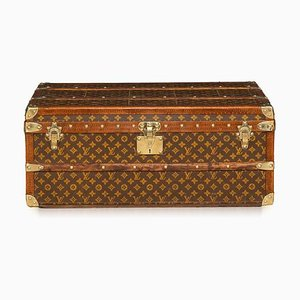 Antique French Monogrammed Fabric Model Malle Aero Trunk from Louis Vuitton, 1910s