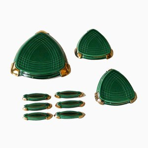 Mid-Century Green and Gold Glazed Tableware Set, Set of 9