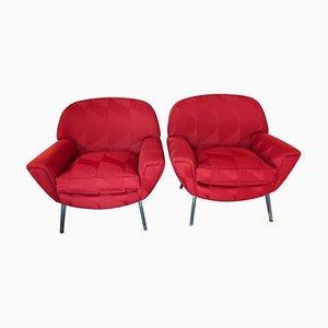 Italienische rot lackierte Armlehnstühle aus Stahl & Wolle, 1960er, 2er Set