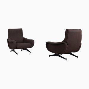 Italienische Braune Lady Chairs im Marco Zanuso Stil, 1950er, 2er Set