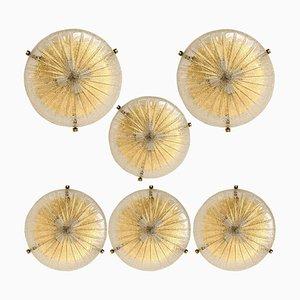 Massive Massive Handgefertigte Glas Messing Deckenlampe von Hillebrand, 1969