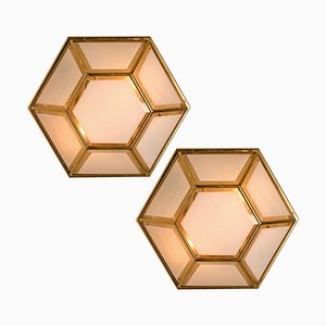 White Hexagonal Glass Wall Lights by Glashütte Limburg, 1970s, Set of 2