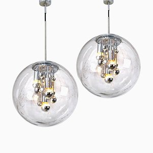 Large Handblown Bubble Glass Pendant Lights by Doria Leuchten Germany, 1970s, Set of 2