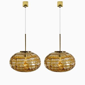 Amber Murano Glass Pendant Lamp, 1960s, Set of 2