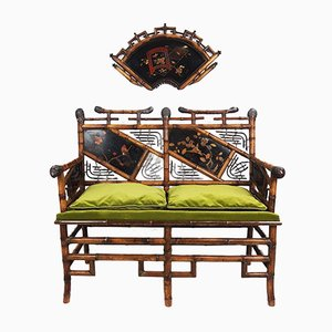 Japanese Style Bench and Decorative Fan, Late 19th Century