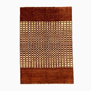 Art Deco Afghan Wool Chobi Rug with Natural Dyes in Beige Red