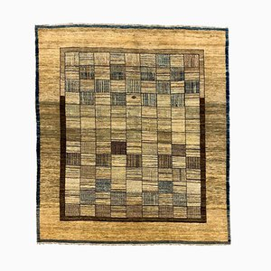 Art Deco Afghan Wool Square Chobi Rug with Natural Dyes in Beige Black