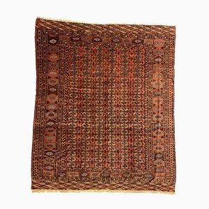 Tappeto Tekke antico turkmeno rosso, nero e beige