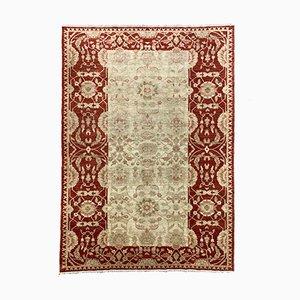 Afghan Handmade Wool Ziegler Chobi Rug in Red & Beige