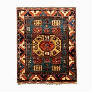 Großer afghanischer Vintage Kazak Teppich in Grün, Blau & Rot