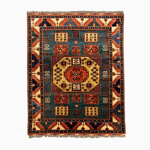 Large Vintage Afghan Kazak Rug in Green, Blue & Red
