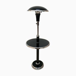 French Art Deco Floor Lamp with Side Table in Chromed and Black Lacquer, 1930s