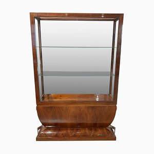 French Art Deco Walnut Veneer Vitrine with Three Glassed Sides, 1930s
