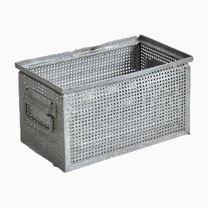 Perforated Vintage Metal Storage Crate Small Holes